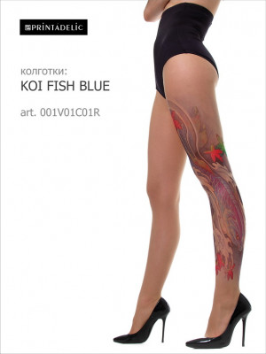 Тату колготки PRINTADELIC KOI FISH BLUE