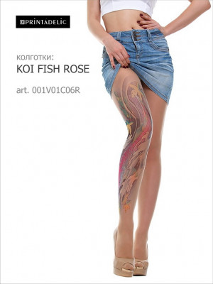 Тату колготки PRINTADELIC KOI FISH ROSE