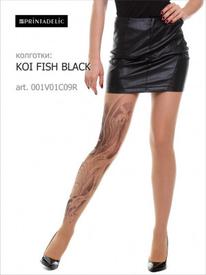 Тату колготки PRINTADELIC KOI FISH BLACK